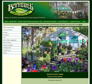 image of Bernardi Garden Centre website homepage with a link to the website