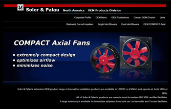 image of Soler Palau OEM website homepage with link to website prototype